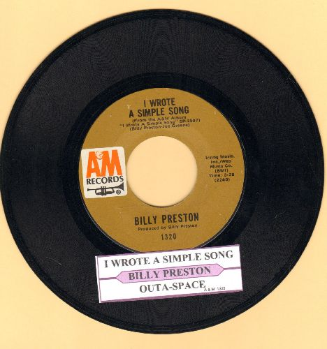 Preston, Billy - Outa-Space/I Wrote A Simple Song (with juke box label) - EX8/ - 45 rpm Records