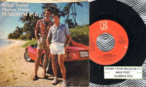 Post, Mike - Theme From Magnum P.I./Gumbus Red (with picture sleeve and juke box label) - EX8/EX8 - 45 rpm Records