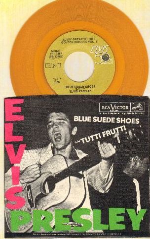 Presley, Elvis - Blue Suede Shoes/Tutti Frutti  (Yellow Vinyl 50th Anniversary Edition with picture sleeve) - NM9/NM9 - 45 rpm Records