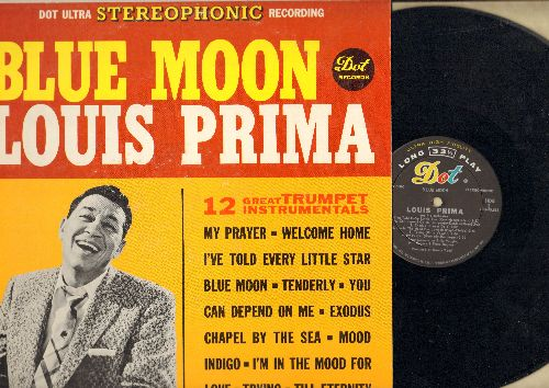 Prima, Louis - Blue Moon - 12 Great Trumpet Instrumentals: I'm In The Mood For Love, My Prayer, Welcome Home, Exodus (vinyl STEREO LP record) - EX8/EX8 - LP Records