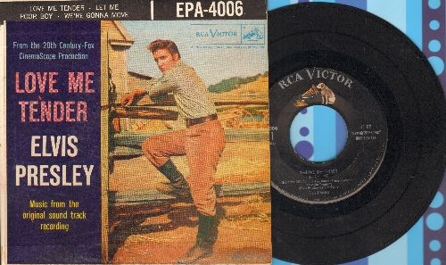 Presley, Elvis - Love Me Tender/Let Me/Poor Boy/We're Gonna Move (vinyl EP record with picture cover) - EX8/VG7 - 45 rpm Records