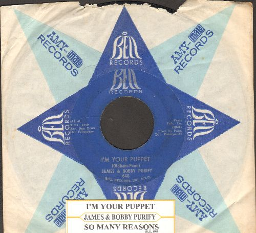 Purify, James & Bobby - I'm Your Puppet/So Many Reasons (with vintage Bell company sleeve and juke box label) - VG7/ - 45 rpm Records
