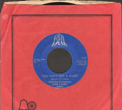 Purify, James & Bobby - You Can't Keep A Good Man Down/Wish You Didn't Have To Go (with Bell company sleeve) - VG7/ - 45 rpm Records