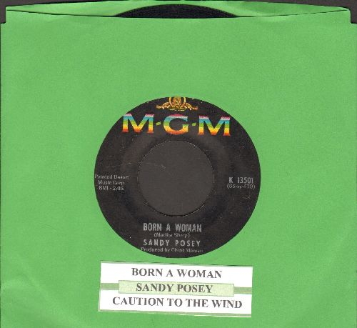 Posey, Sandy - Born A Woman/Caution To The Wind (with juke box label) - EX8/ - 45 rpm Records
