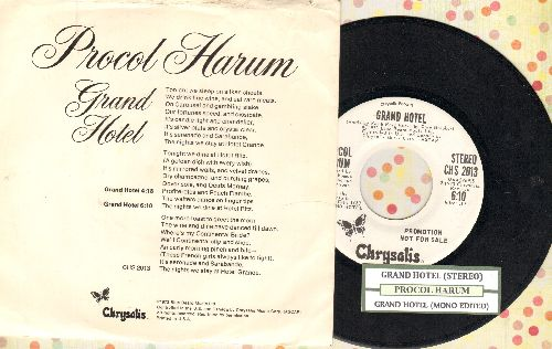 Procol Harum - Grand Hotel (DJ advance pressing with MONO and STEREO version, with juke box label and picture sleeve, song lyrics on back of picture sleeve) - NM9/EX8 - 45 rpm Records