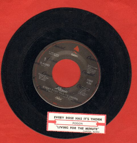 Poison - Every Rose Has Its Thorn/Livin' For The Minute (with juke box label) - EX8/ - 45 rpm Records