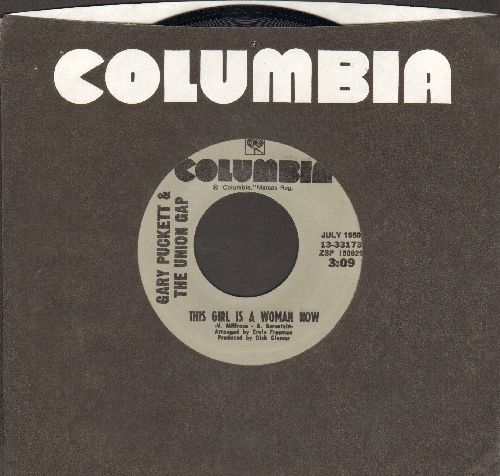 Puckett, Gary & The Union Gap - This Girl Is A Woman Now/Don't Give It To Him (double-hit re-issue with Columbia company sleeve) - NM9/ - 45 rpm Records