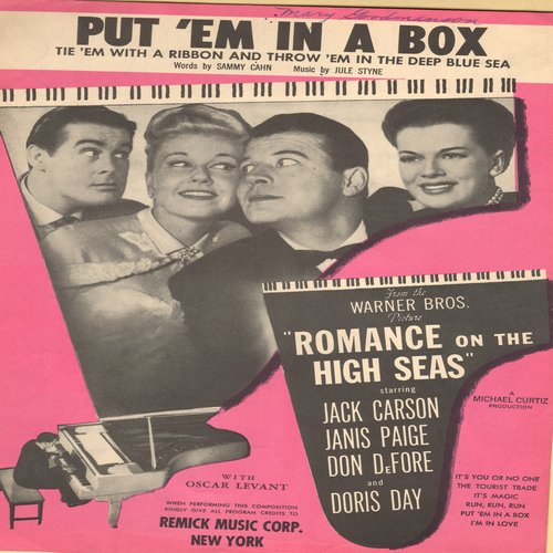 Day, Doris - Put 'Em In A Box (Tie 'Em With A Ribbon And Throw 'Em In The Deep Blue Sea) - SHEET MUSIC for the Doris Day song featured in film