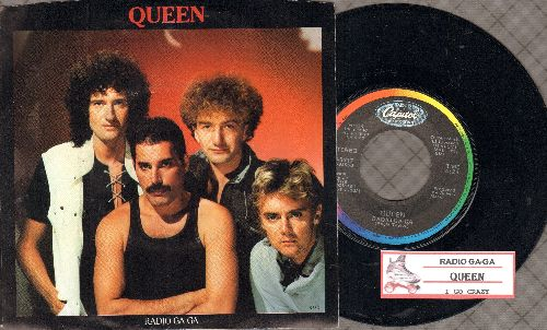 Queen - Radio Ga-Ga/I Go Crazy (withpicture sleeve and juke box label) - NM9/EX8 - 45 rpm Records