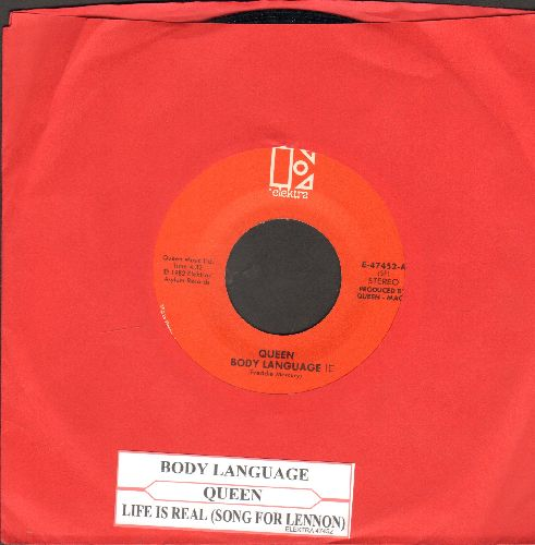 Queen - Body Language/Life Is Real (Song For Lennon) (with juke box label) - EX8/ - 45 rpm Records