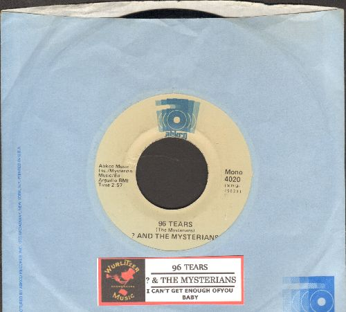 Question Mark & The Mysterians - 96 Tears/I Can't Get Enough Of You, Baby (double-hit re-issue with juke box label and Abkco company sleeve) - NM9/ - 45 rpm Records