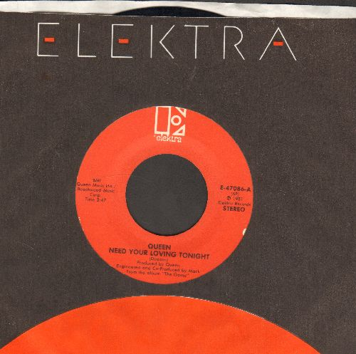 Queen - Need Your Loving Tonight/Rock It (Prime Jive) (with Elektra company sleeve) - VG7/ - 45 rpm Records