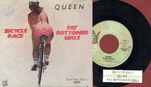 Queen - Bicicle Race/Fat Bottomed Girls (with juke box label and RARE picture sleeve) - EX8/EX8 - 45 rpm Records
