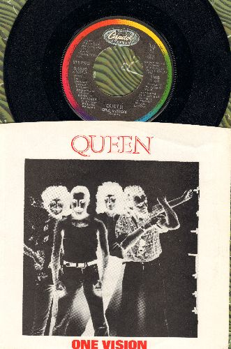 Queen - One Vision/Blurred Vision (with picture sleeve) - NM9/EX8 - 45 rpm Records