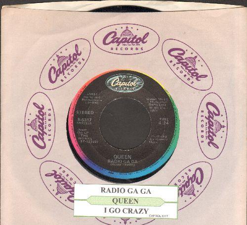 Queen - Radio Ga-Ga/I Go Crazy (with juke box label and Capitol company sleeve) - EX8/ - 45 rpm Records