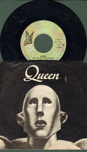Queen - We Are The Champions/We Will Rock You (FANTASTIC 2-sider with RARE picture sleeve) - NM9/NM9 - 45 rpm Records