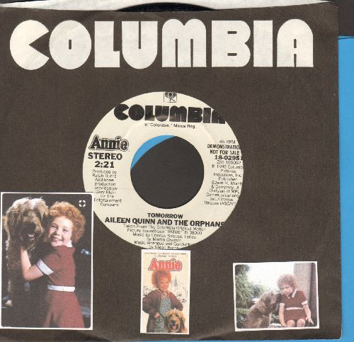 Quinn, Aileen & The Orphans - Tomorrow (double-A-sided DJ advance pressing with Columbia company sleeve) (sung by Aileen Quinn, Ann Reinking, Albert Finney & Chorus  - NM9/ - 45 rpm Records