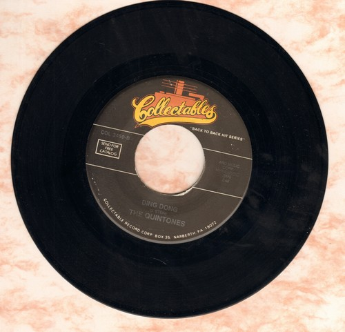 Quintones - Ding Dong/Every Day I Have To Cry (by Steve Alaimo on flip-side) (re-issue) - NM9/ - 45 rpm Records