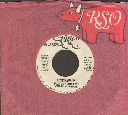 Quatro, Suzi & Chris Norman - Stumblin' In (BEAUTIFUL TOP CHARTING LOVE BALLAD!) (RARE doiuble-A-sided DJ advance pressing with RSO company sleeve) - NM9/ - 45 rpm Records