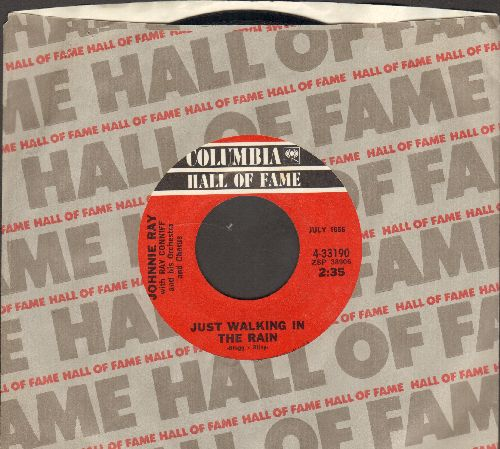 Ray, Johnnie - Just Walking In The Rain/Walking My Baby Back Home (double-hit re-issue with Columbia company sleeve) - NM9/ - 45 rpm Records