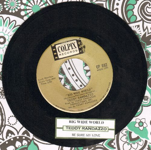 Randazzo, Teddy - Big Wide World/Be Sure My Love (with juke box label) - EX8/ - 45 rpm Records