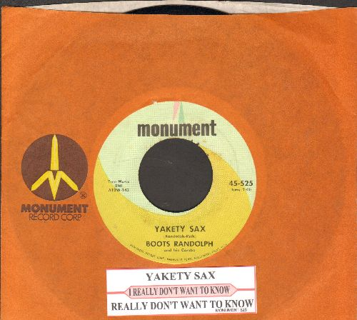 Randolph, Boots - Yakety Sax/I Really Don't Want To Know (with juke box label and  Monument company sleeve) - NM9/ - 45 rpm Records