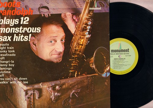 Randolph, Boots - 12 Monstrous Sax Hits!: Tequila, Night Train, Honky Tonk, Danny Boy, You Can't Sit Down (Vinyl MONO LP record) - NM9/NM9 - LP Records