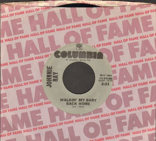 Ray, Johnnie - Just Walking In The Rain/Walkin' My Baby Back Home (double-hit re-issue with Columbia company sleeve) - NM9/ - 45 rpm Records
