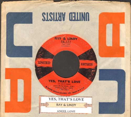 Ray & Lindy - Yes, That's Love/Angel Love (DREAMY Vintage Teen-Sound!) (with juke box label and United Artists company sleeve) - VG7/ - 45 rpm Records