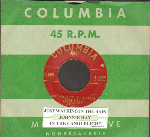Ray, Johnnie - Just Walking In The Rain/In The Candlelight (NICE condition with juke box label vintage Columbia company sleeve) - NM9/ - 45 rpm Records