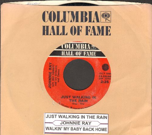 Ray, Johnnie - Just Walking In The Rain/Walkin' My Baby Back Home (double-hit re-issue with Columbia company sleeve and juke box label) - NM9/ - 45 rpm Records