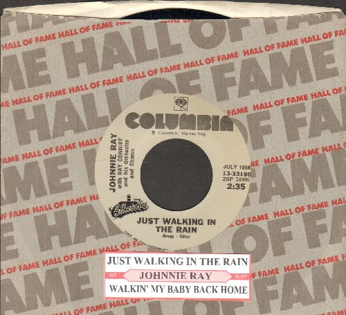 Ray, Johnnie - Just Walking In The Rain/Walking My Baby Back Home (double-hit re-issue with juke box label and Columbia company sleeve) - M10/ - 45 rpm Records