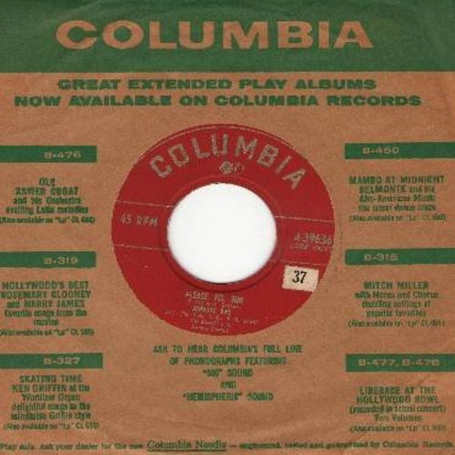 Ray, Johnnie - Please, Mr. Sun/Here I Am - Broken Hearted (with vintage Columbia company sleeve) - EX8/ - 45 rpm Records