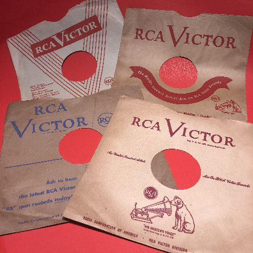 Company Sleeves - 10 inch vintage RCA company sleeves, 4-Pack (exactly as pictured), Enhances and protects you collectable 10 inch 78 rpm record!  - /EX8/EX8 - Supplies