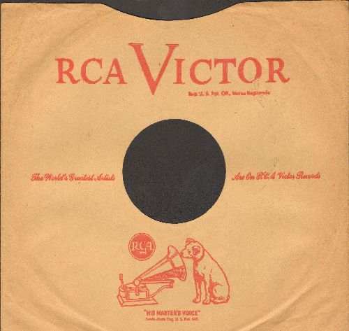 Company Sleeves - Vintage RCA company sleeve. 10 inch sleeve for 78 rpm records. NICE toch to enhance the appearance of your collectable 78 rpm records! - EX8/ - Supplies