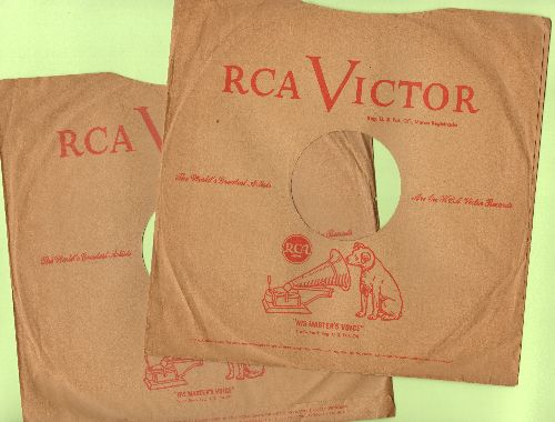 Company Sleeves - 2 Vintage 10 inch RCA company sleeves for 78 rpm records for the price of 1! - /EX8 - Supplies