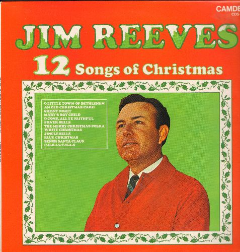 Reeves, Jim - 12 Songs Of Christmas: White Christmas, Silver Bells, Blue Christmas, Jingle Bells, Silent Night (Vinyl LP record, 1970s re-issue of vintage recordings) - M10/NM9 - LP Records