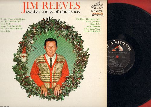Reeves, Jim - Twelve Songs Of Christmas: Silver Bells, White Christmas, Silent Night, Senor Santa, Jingle Bells (Vinyl MONO LP record) - EX8/EX8 - LP Records