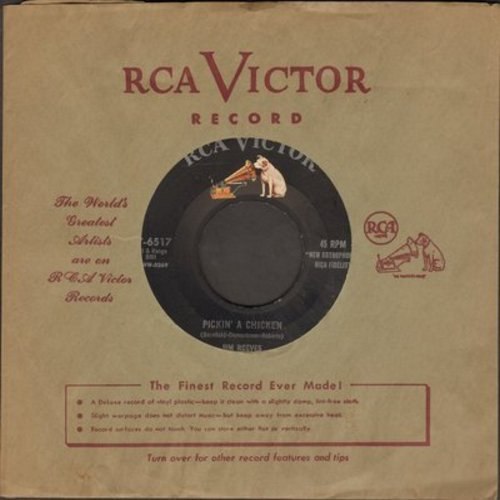 Reeves, Jim - Pickin' A Chicken/My Lips Are Sealed (with RCA company sleeve) - EX8/ - 45 rpm Records