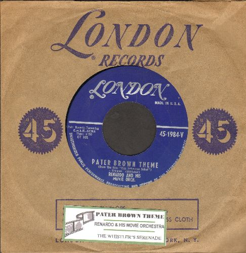 Renardo & His Movie Orchestra - Pater Brown Theme (from film -Das Schwarze Schaf-)/The Whistler's Serenade (RARE Jazz-Theme 2-sider with vintage London company sleeve and juke box label) - NM9/ - 45 rpm Records