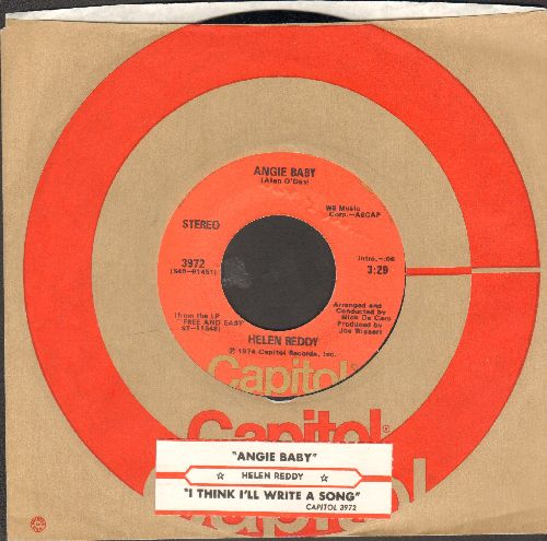 Reddy, Helen - Angie Baby/I Think I'll Write A Song (with juke box label and Capitol company sleeve) - NM9/ - 45 rpm Records