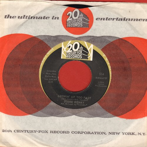 Renay, Diane - Growin' Up Too Fast/Waitin' For Joey (vintage 20th Century-Fox company sleeve) - NM9/ - 45 rpm Records