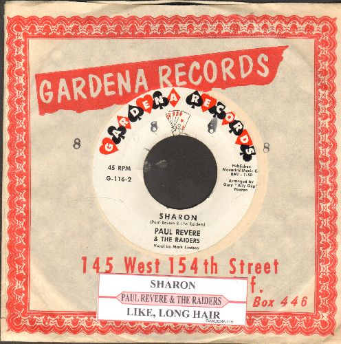 Revere, Paul & The Raiders - Sharon/Like Long, Long Hair (RARE early issue with juke box label and Gardene company sleeve)  - NM9/ - 45 rpm Records