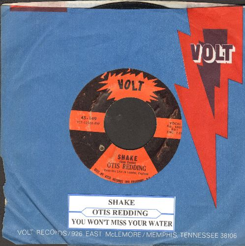 Redding, Otis - Shake/You Don't Miss Your Water (with juke box label and Volt company sleeve)(bb) - EX8/ - 45 rpm Records