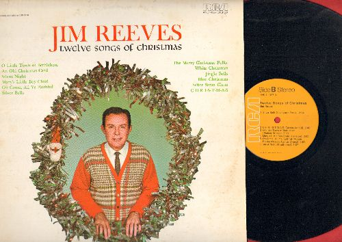 Reeves, Jim - Twelve Songs Of Christmas: Silver Bells, White Christmas, Silent Night, Senor Santa, Jingle Bells (Vinyl STEREO LP record, orange label 1970s pressing) - NM9/EX8 - LP Records