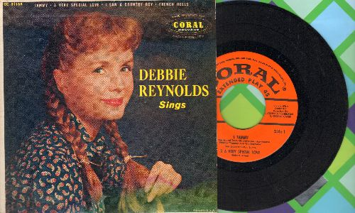 Reynolds, Tammy - Debbie Reynolds Sings: Tammy/A Very Special Love/I Saw A Country Boy/French Heels (vinyl EP record with picture cover) - EX8/EX8 - 45 rpm Records