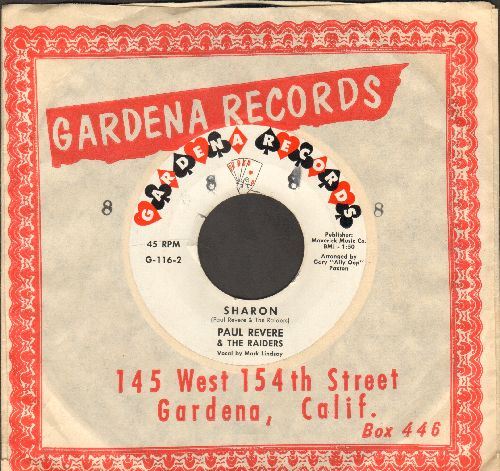 Revere, Paul & The Raiders - Sharon/Like Long, Long Hair (RARE early issue with Gardene company sleeve)  - NM9/ - 45 rpm Records