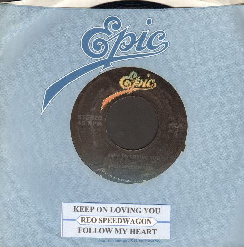 REO Speedwagon - Keep On Loving You/Follow My Heart (with juke box label and Epic company sleeve) - NM9/ - 45 rpm Records