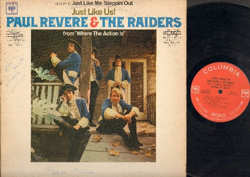Revere, Paul & The Raiders - Just Like Us!: Steppin' Out, Doggone, Out Of Sight, Baby, Please Don't Go, I Know, Night Train, Just Like Me, Catch The Wind, I Can't Get No Satisfaction, I'm Cryin', New Orleans, Action(Vinyl Mono LP Record) - EX8/VG7 - LP Re