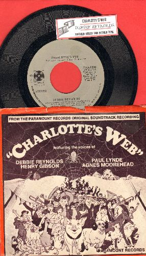 Reynolds, Debbie - Charlotte's Web/Mother Earth And Father Time (with picture sleeve and juke box label) - EX8/EX8 - 45 rpm Records